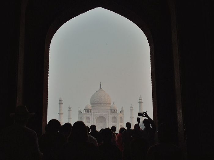 People In Front Of Taj Mahal