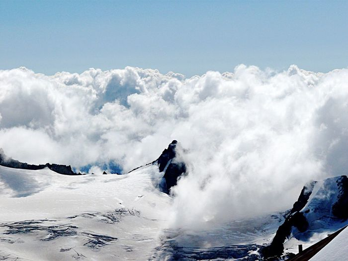 Clouds and mountains Clouds Mountains Mountain View Mountain Cloud Clouds And Sky Mont Blanc Snow ❄