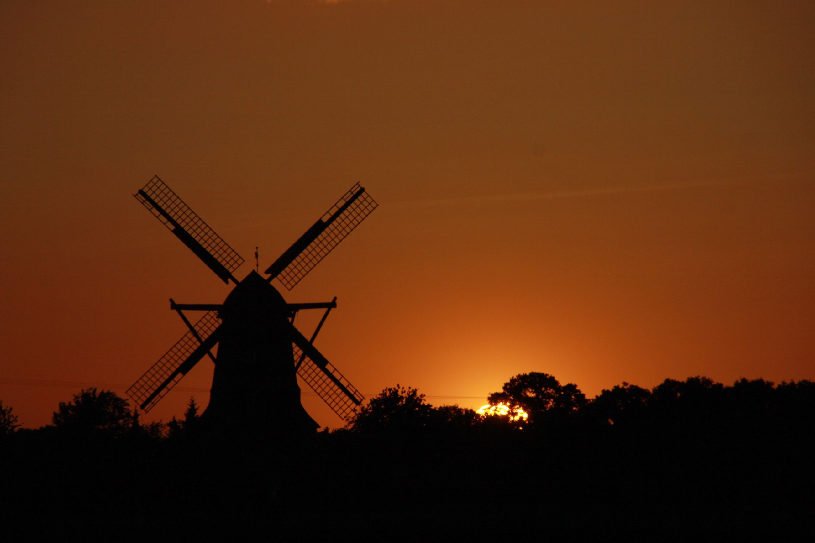 alternative energy, sunset, environmental conservation, wind turbine, wind power, windmill, fuel and power generation, renewable energy, silhouette, traditional windmill, orange color, crane - construction machinery, technology, development, construction site, industry, rural scene, clear sky, crane, sky