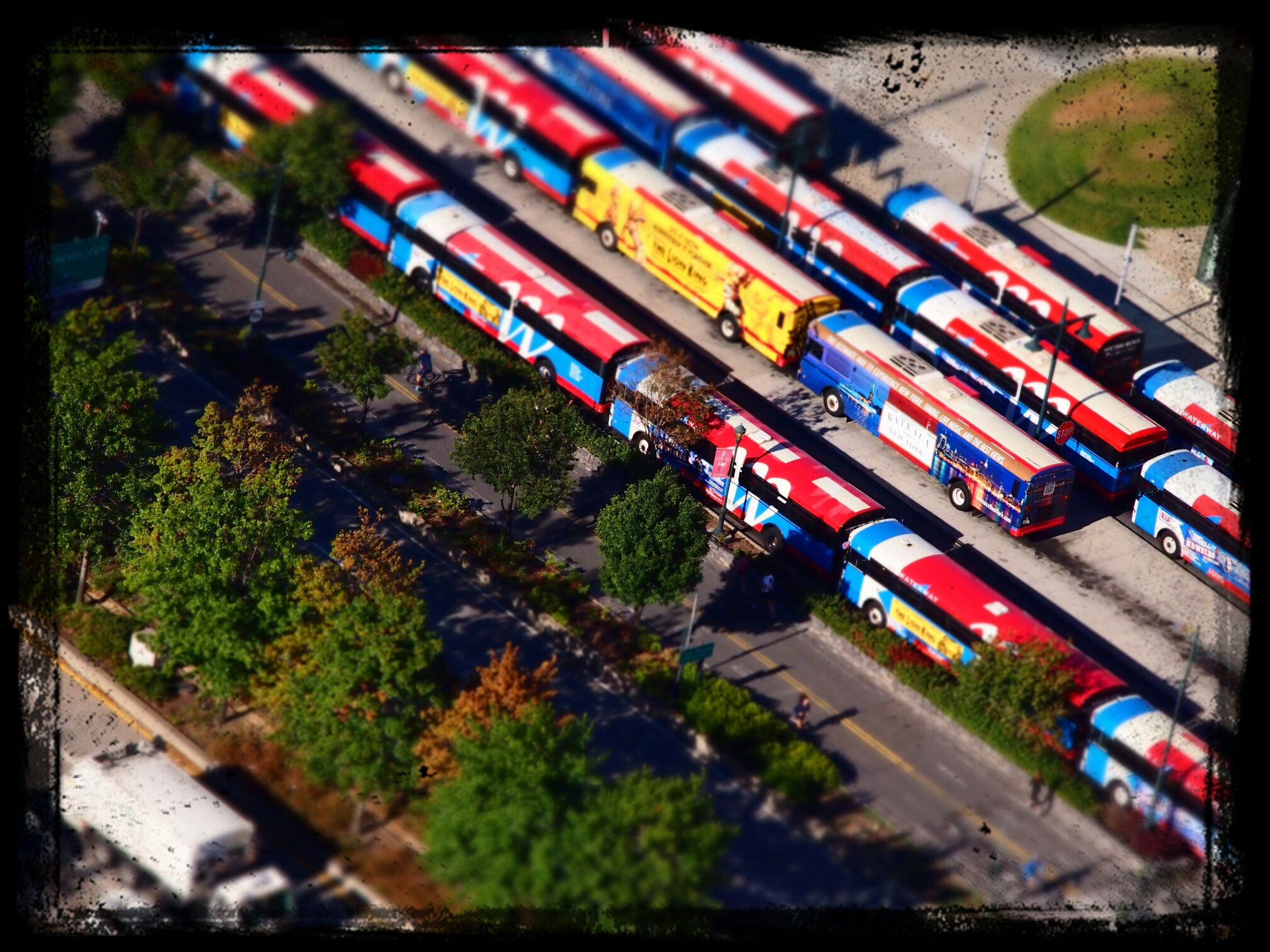 transfer print, auto post production filter, high angle view, multi colored, car, transportation, variation, land vehicle, abundance, large group of objects, mode of transport, in a row, street, no people, road, tree, day, outdoors, colorful, elevated view