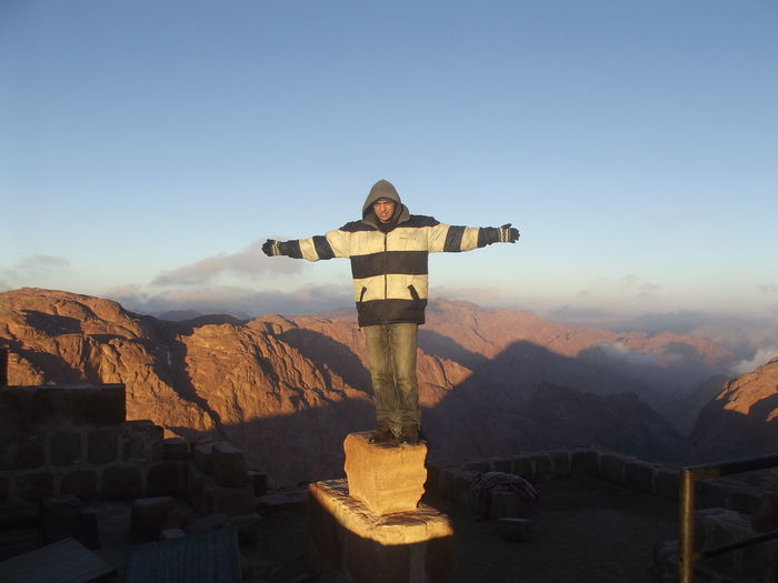 the highest point in Egypt, clamping Stant Catherine mountain Egypt Winter Best EyeEm Shot Life Cloud - Sky Best EyeEm Nature Morning Mountain Enjoying Life Sunrise EyeEm Selects EyeEmNewHere EyeEm Nature Lover EyeEm Gallery EyeEm Sant Catherine Love Yourself Front View One Man Only One Person Standing Full Length Protection Headwear Outdoors Adventure Portrait Sky Day Adults Only