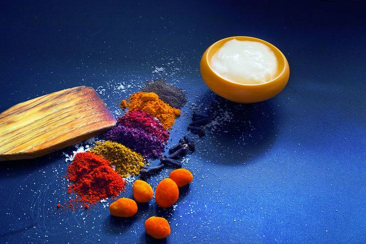 Close-up of various spices on table