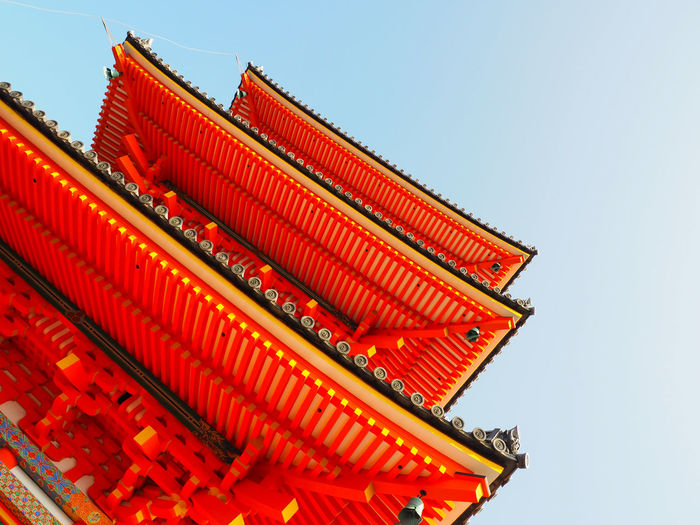 Low Angle View Of Pagoda At Kiyomizu-Dera Against Sky