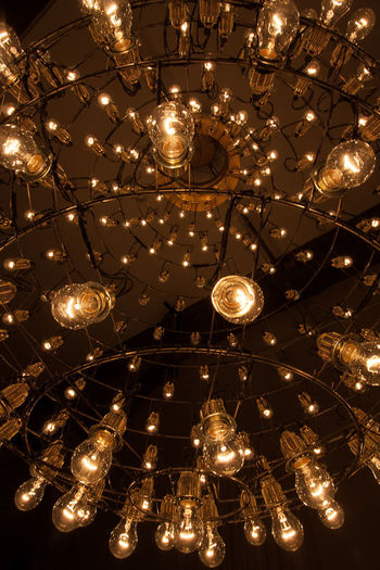 Abstract Abundance Ceiling Celebration Decoration Directly Below Electric Lamp Electric Light Electricity  Event Glowing Hanging Illuminated Indoors  Large Group Of Objects Light Light Bulb Lighting Equipment Low Angle View Luxury Night No People Ornate Pendant Light