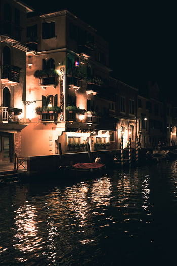 Architecture Building Building Exterior Built Structure Canal City Illuminated Lighting Equipment Mode Of Transportation Nature Nautical Vessel Night No People Outdoors Reflection Residential District Transportation Venice Water Waterfront