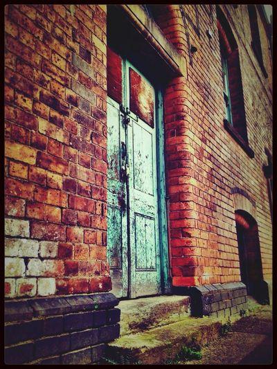 IPhoneography Architecture Decay Arkwrights Mill Old Buildings Amazing Architecture Brick Building Doors Doorway Green Green Door