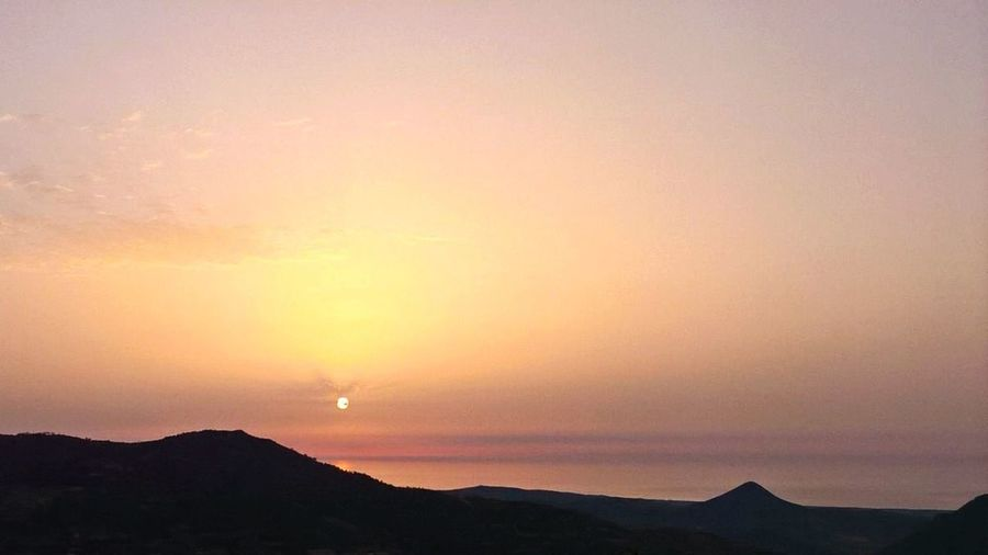 Sunset Orange Color Nature Beauty In Nature Silhouette Scenics Sky Outdoors Landscape Mountain