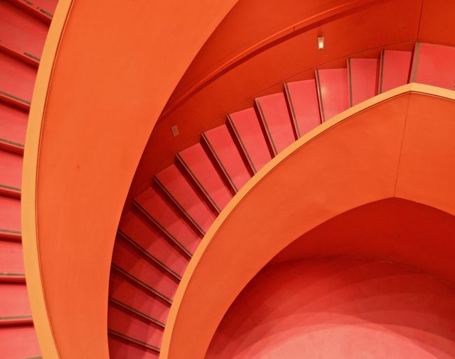 spiralled Indoors  Museum Paris Travel Travel Destinations Architecture Architecture_collection Architectural Feature Red Red Color Stairs Spiral Spiral Staircase Spiral Stairs Steps And Staircases Staircase Built Structure Indoors  Pattern Railing No People Design Diminishing Perspective In A Row High Angle View Day Curve Repetition Modern Building Abstract Colors Colorful Perspective Lines And Shapes Lines, Shapes And Curves Curves Curves And Lines My Best Photo The Minimalist - 2019 EyeEm Awards The Architect - 2019 EyeEm Awards