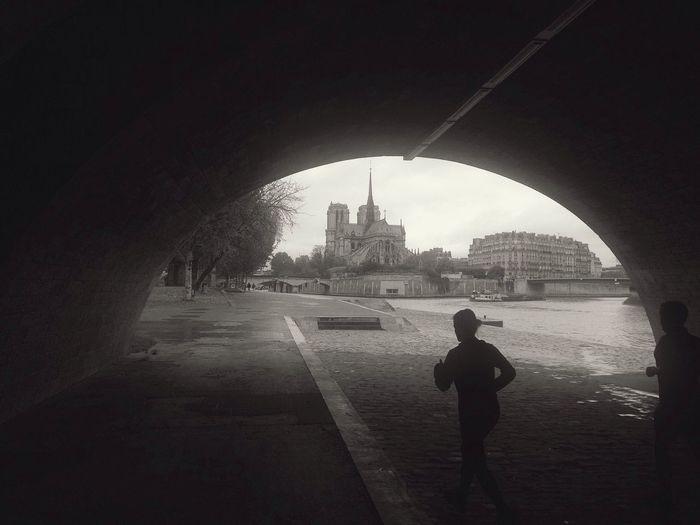 Notre Dame De Paris Running Tunnel Blackandwhite