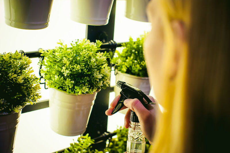 Woman watering potted plants at greenhouse