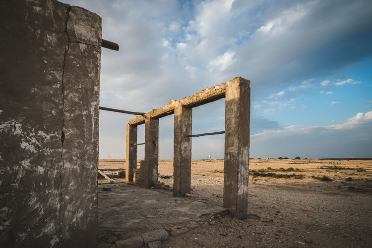 Sky Cloud - Sky Land Built Structure Nature No People Architecture Day Weathered Abandoned Old Damaged Beach Obsolete Outdoors Water Field Run-down Tranquil Scene Non-urban Scene Deterioration