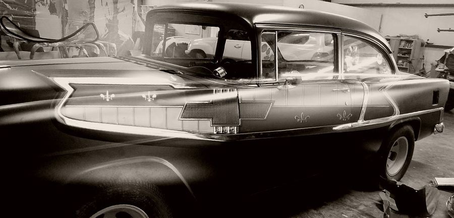 Old-fashioned Mode Of Transport Land Vehicle Chevrolet Antique Car Antique 55 Chevy Transportation Black And White Friday