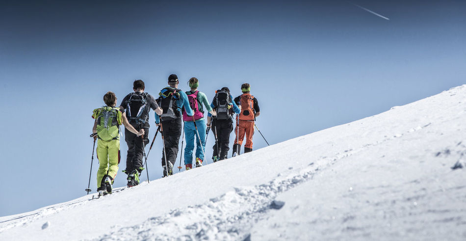 Group of people ski mountaineering in the Alps Activity Adventure Allgäu Alps Bayern Enjoy Enjoyment Exploration Group Kleinwalsertal Lifestyles Mountain Guide Mountain Peak Outdoors Powder Ski Ski Mountaineering Ski Touring Skitour Skitouring Team Togetherness Tranquil Scene Tranquility Winter