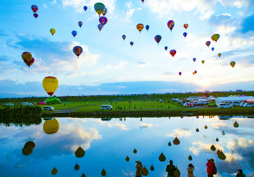 Hot Air Balloon Mid-air Sky Reflection Blue Flying Ballooning Festival Nature Outdoors Film135 Film Camera Film Photography Reflection In The Water Reflection Photography Japan Balloon