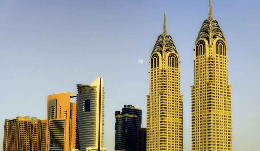 Capturing the scale of these buildings in comparison to small European towns and city's was rather hard! Skyscape Building Architecture Two Towers Skyline City Cosmopolitan UAE