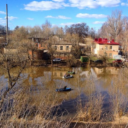 Boats On The River Building Exterior Canal Pereslavl'-zakessky Residential Building Residential District Residential Structure Riverside Village Russia Russian Nature Town Tranquil Scene Tranquility Village View Water Rural Scene