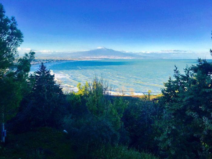 Golfo di Catania, vulcano Etna sul mare Tree Nature Blue Sea Sky Water Growth Beauty In Nature Scenics No People Outdoors Mountain Scenery Day