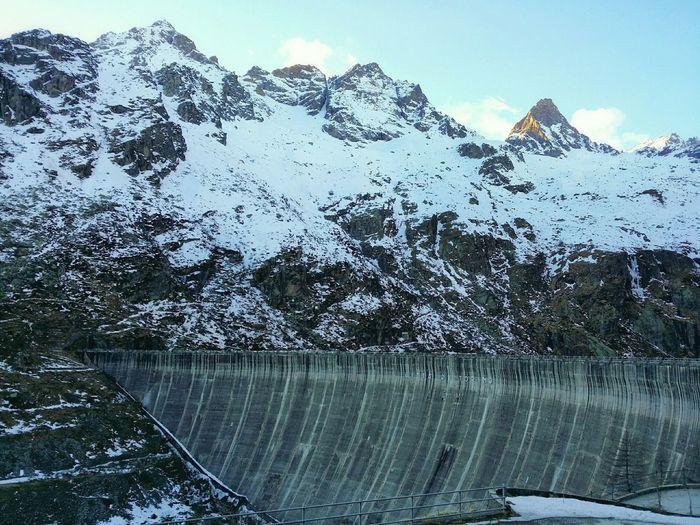 A dam at high