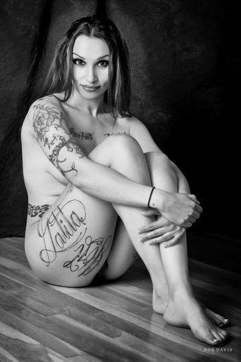 Nikon Adult Beautiful Woman Beauty Black And White Full Length Lifestyles Long Hair Looking At Camera Monochrome On1 One Person Portrait Sitting Tattoo Women Young Adult Young Women