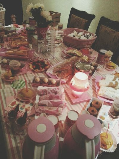 Family Party Love Pink Sweet Day. Food And Drinks