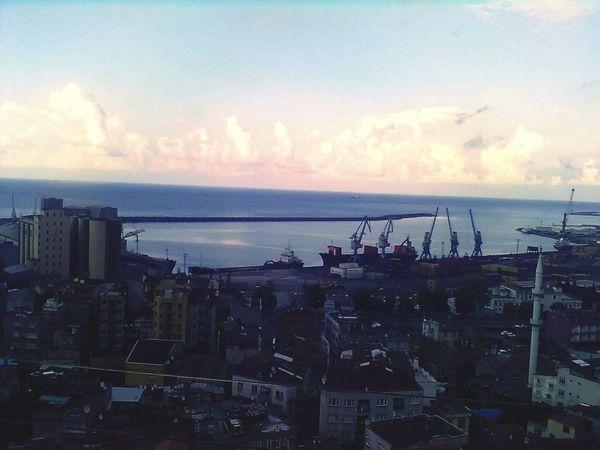 Harbour Turkey Blacksea Red Clouds Ship Wonderful City Sea And Sky Blue