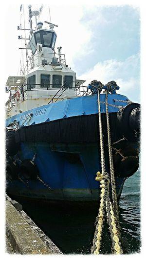 Tug boat tied