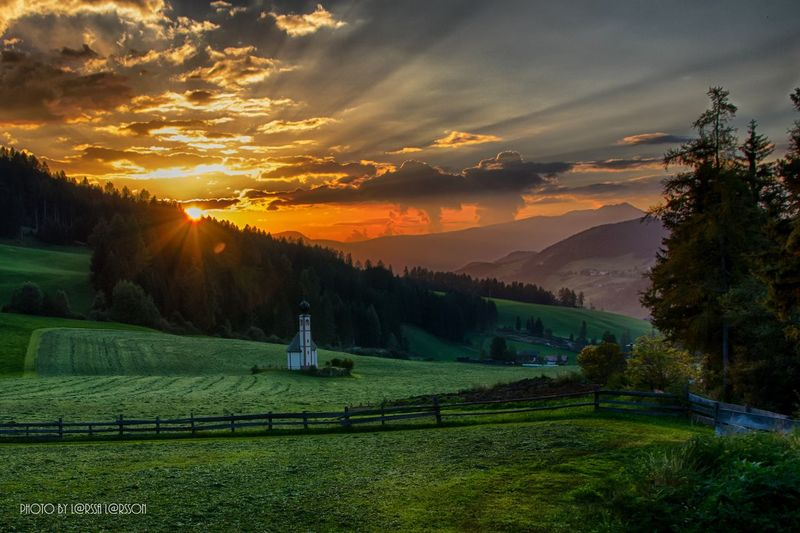 St John church, Val di Funes, Italy Sunset Scenics Tranquil Scene Landscape Mountain Beauty In Nature Agriculture Tranquility Rural Scene Farm Cloud - Sky Sky Nature Mountain Range Field Majestic Cultivated Land Non-urban Scene Green Color Outdoors Nature Sun Architecture Beautifull HDR