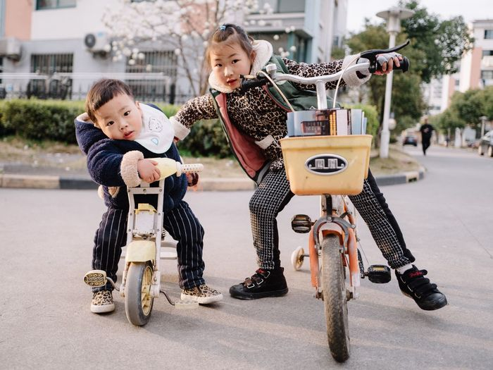 Childhood Child Bicycle Full Length Transportation Mode Of Transport Children Only Boys Cycling Two People Built Structure