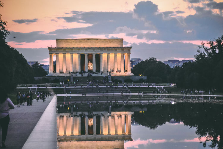 EyeEm Selects Reflection Architecture Travel Destinations Built Structure Reflecting Pool Sunset Water History Tourism Travel Politics And Government Lincoln Memorial