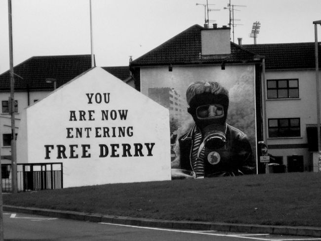 Subtle Strong Statements of Free Derry Blackandwhite Contrast Derry Graffiti Historic History Ireland Londonderry Rebelious Sign Text Visual Statements