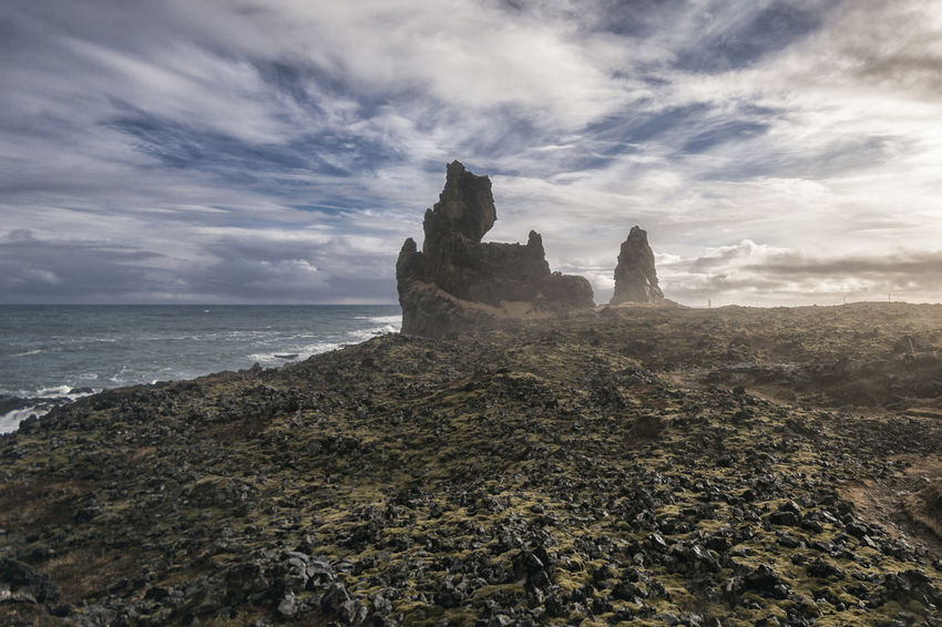 Landscape in Iceland Beauty In Nature Cliff Cloud Cloud - Sky Cloudy Coastline Day Geology Horizon Over Water Idyllic Nature No People Non-urban Scene Outdoors Remote Rock Rock - Object Rock Formation Scenics Sea Shore Sky Tranquil Scene Tranquility Water