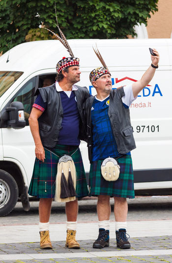 Two People Adults Only Togetherness People Middle Aged Man Outdoors Scotland Scotsman Tartan Army Football Fans Sport Fan Scotish National Costume Happy Celebrating Adults Only Friendship Cheering Real People Selfıe Photographing Streetphotography Street Photography Be. Ready.