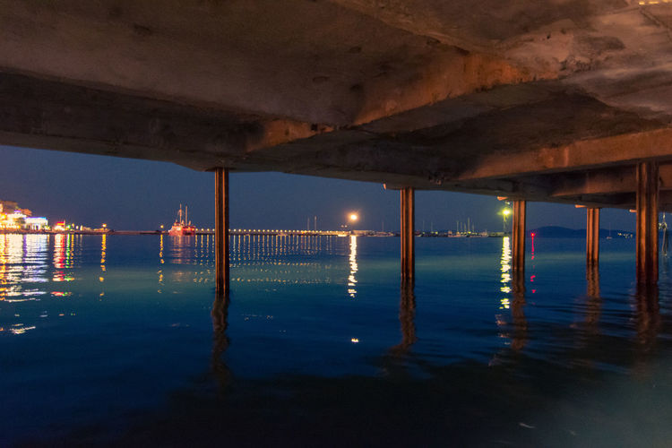 Bridge Over Sea At Night