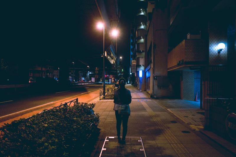 Night view of illuminated street light at night