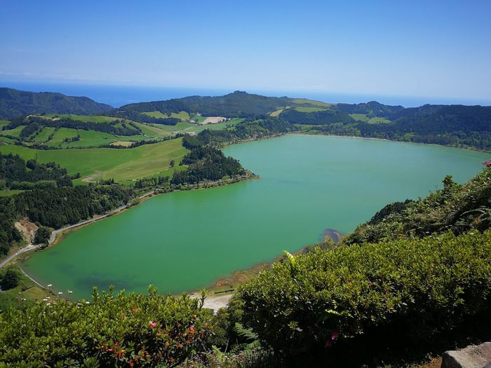 Beauty In Nature Day Environment Green Color High Angle View Idyllic Lake Landscape Mountain Nature No People Non-urban Scene Outdoors Plant Scenics - Nature Sky Tranquil Scene Tranquility Tree Turquoise Colored Volcanic Crater Water