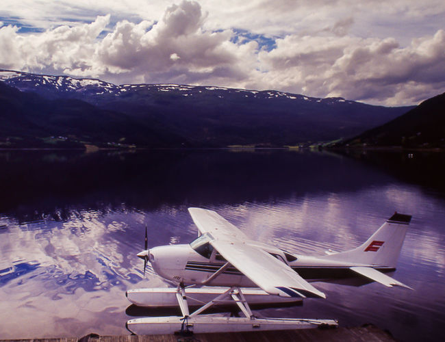 Nordic Lake Norway Seaplane On A Norvegian Lake Airplane Floating On Water Mode Of Transport No People Transportation