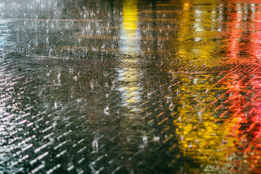 Backgrounds City Close-up Day Full Frame High Angle View Monsoon Nature No People Outdoors Puddle Rain RainDrop Rainy Season Reflection Road Street Surface Level Torrential Rain Water Wet