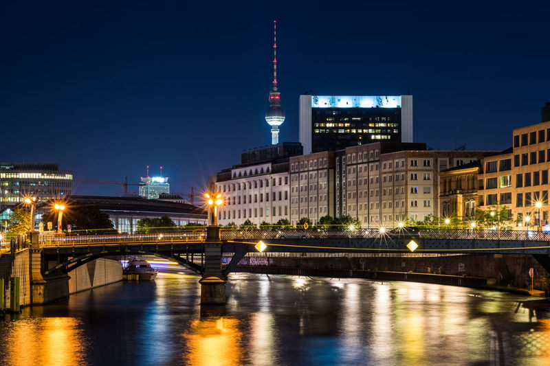 City of Berlin at dusk Architecture Berlin Cityscape Fernsehturm German Government Mitte Spree TV Tower Travel Architecture Bridge Building City Dusk Europe Evening Illuminated Landmark Monument Night Nightfall Regierungsviertel River Travel Destinations