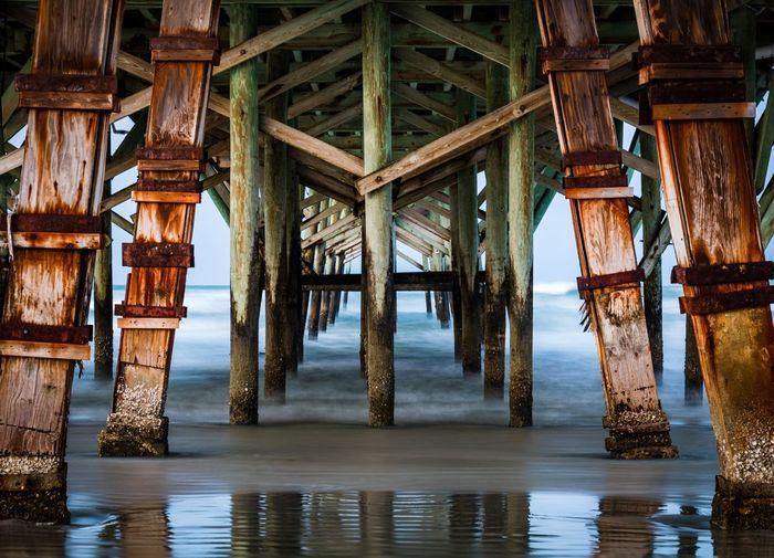 Full frame shot of pier on sea