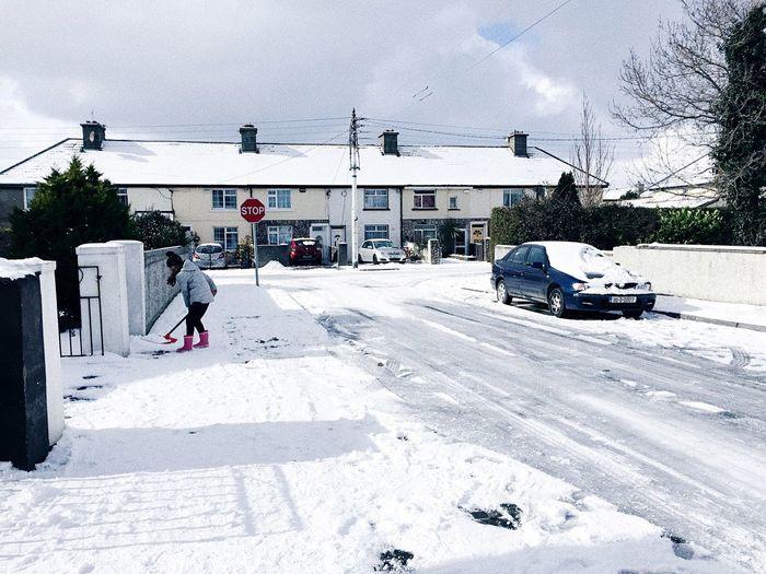 Bray, Ireland Ireland person Snow Winter Outdoors Cold Temperature Car Street Nature