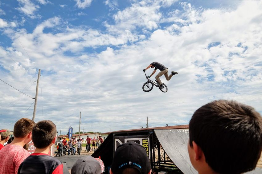 Nowear BMX Team Nebraska State Fair September 1, 2018 Grand Island, Nebraska Camera Work Check This Out Composition Event EyeEm Best Shots FUJIFILM X-T1 Fujinon 10-24mm F4 Getty Images Grand Island, Nebraska Nebraska State Fair NowearBMX Photojournalism Stunt Action Adventure Bicycle Bmx  Cloud - Sky Day Extreme Sports Eye For Photography Eyeforphotography Freestyle Group Of People Headshot Land Vehicle Leisure Activity Men Mid-air Mode Of Transportation Motion Nature Outdoors People Real People Rear View Riding S.ramos September 2018 Skill  Sky Spectator Sport Transportation Travel Tricks