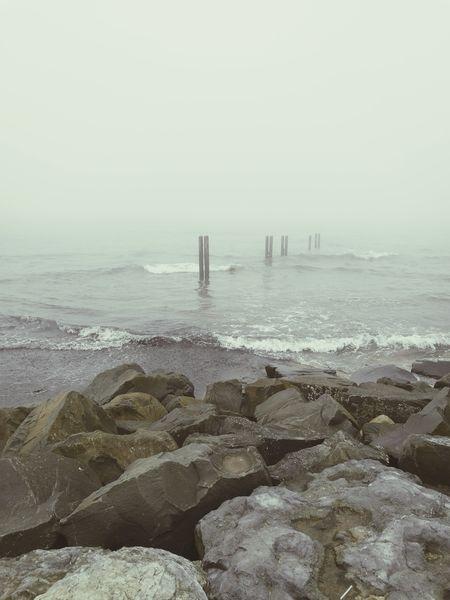 Misty sea Fog Ocean Rock - Object