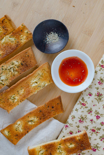 Bread Bread Sticks  Close-up Day Food Food And Drink Freshness Garlic Bread Healthy Eating High Angle View Homemeade Indoors  Ketchup No People Ready-to-eat Seasoning Table