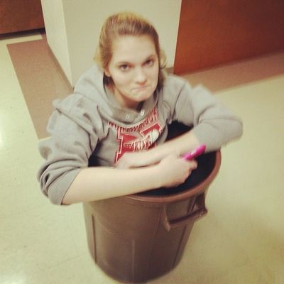 My WCW ( @lizzy101198 ) gets stuck in trast cans at Youthgroup LOL 7ball loveya loveher bffs trashcans woman crush wednesday wcw