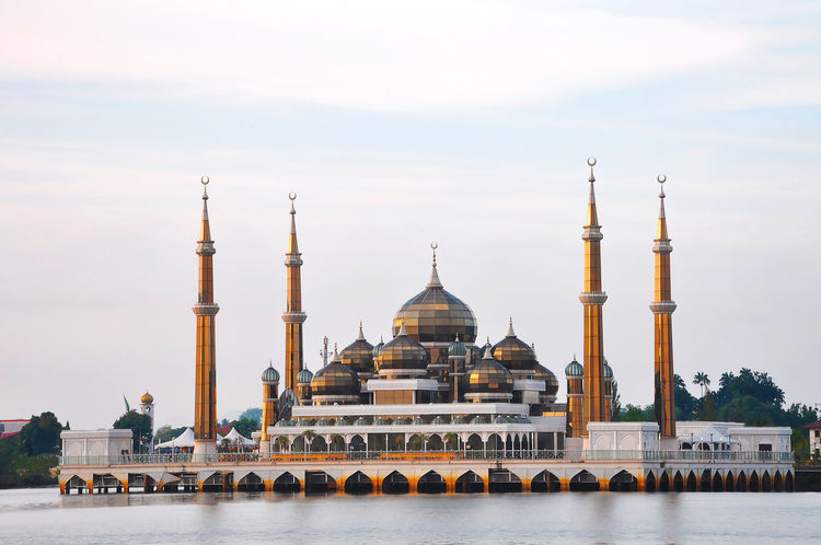 crystal mosque Architecture Blue Sky Dome Islam Islamic Architecture Minaret Mosque Pray Reflection Religion Tower Water