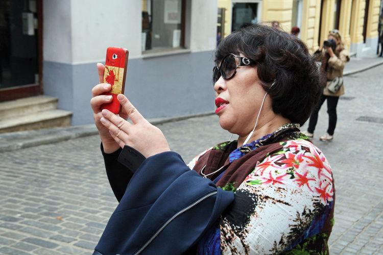 Korean tourists enyoing Kravata's day parade,Zagreb,Croatia,Europe,6 Autumn Casual Clothing City Croatia Korean Tourists Kravata Kravata's Day Parade Photo Selphie South Korea Streets Tourism Tourists Zagreb