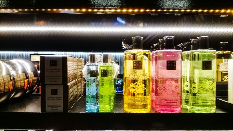 Night Photography, Window Shopping, Colorfull Bottles Collection Ritual Cosmetics