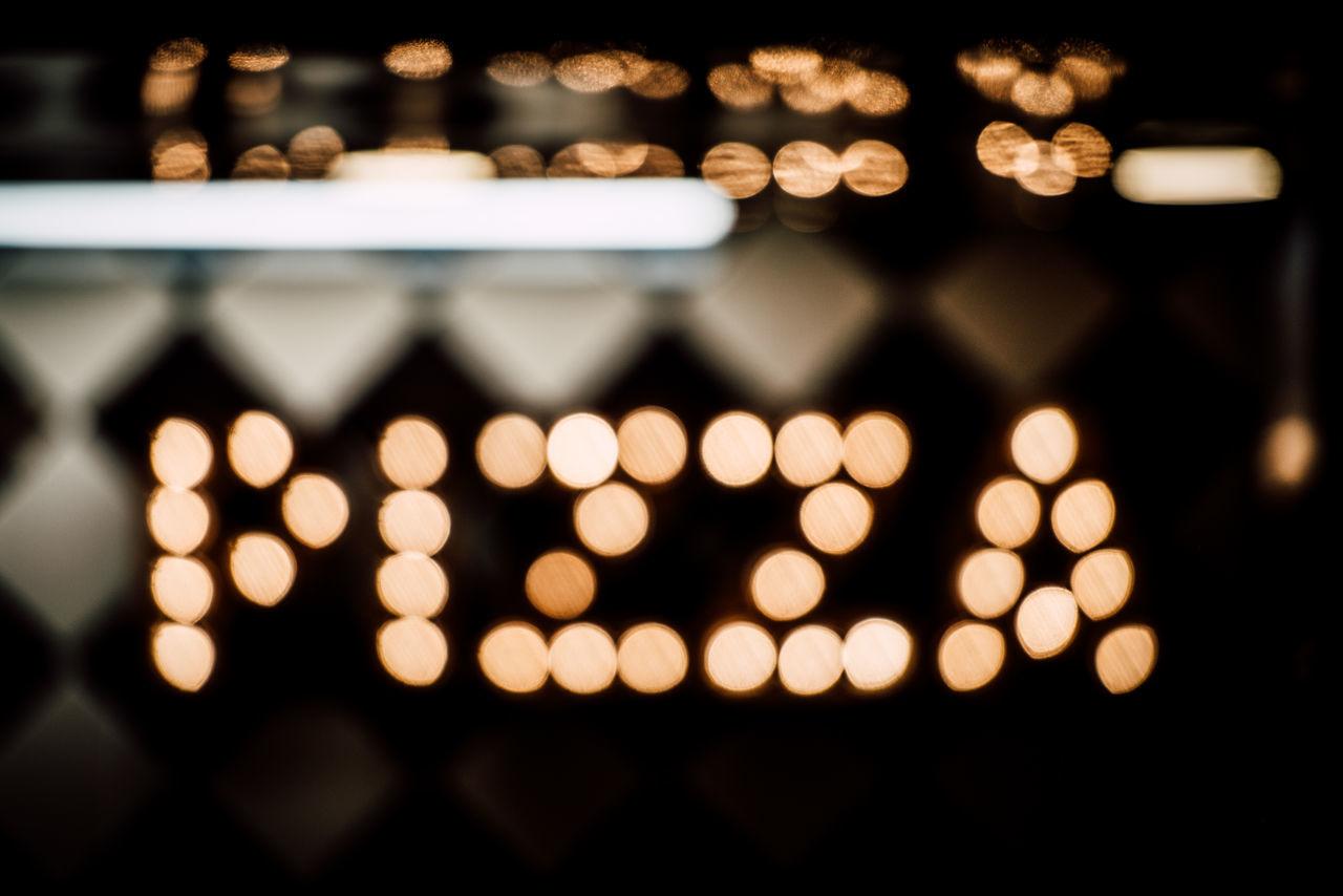 illuminated, night, close-up, no people, defocused, indoors