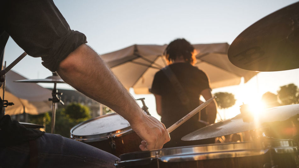 Summer, concert, party ... Band Concert Drums Garden Golden Hour Hand Music Party Performance Sky Summer Sun Sunrise Sunset