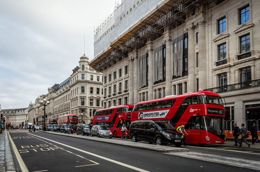 Double decker red bus in Regent Street in London Architecture Building Built Structure Bus Business City City Life City Street Cloud - Sky Commercial Day Double Decker Bus Life Luxury Mode Of Transport Outdoors Regent Road Shopping Sky Stationary Tourist Transportation Travel Destinations